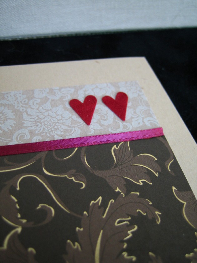 double heart folded card detail
